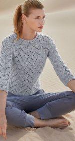 azhurnyj pulover spicami 150x280 - Вязаный ажурный пуловер спицами схемы и описание