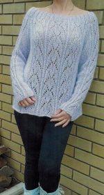 azhurnyj pulover spicami zhenskij 150x280 - Вязаный ажурный пуловер спицами схемы и описание