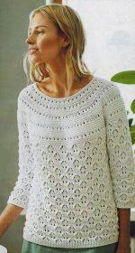 belyj azhurnyj pulover spicami 150x280 - Вязаный ажурный пуловер спицами схемы и описание