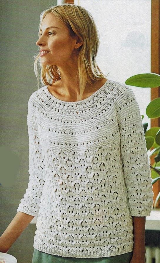 ажурный пуловер крючком схемы