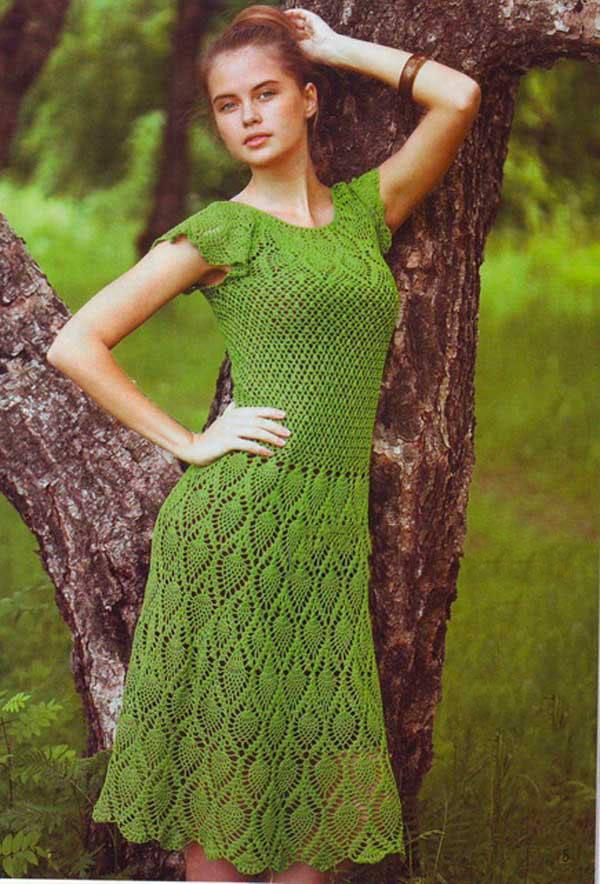 платье ананасы крючком
