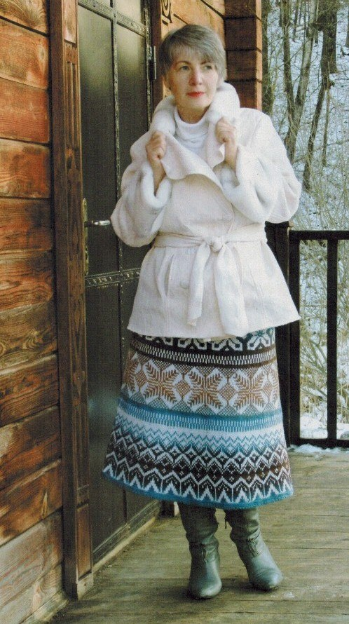 zhakkardovaya yubka spicami - Вязаная жаккардовая юбка спицами