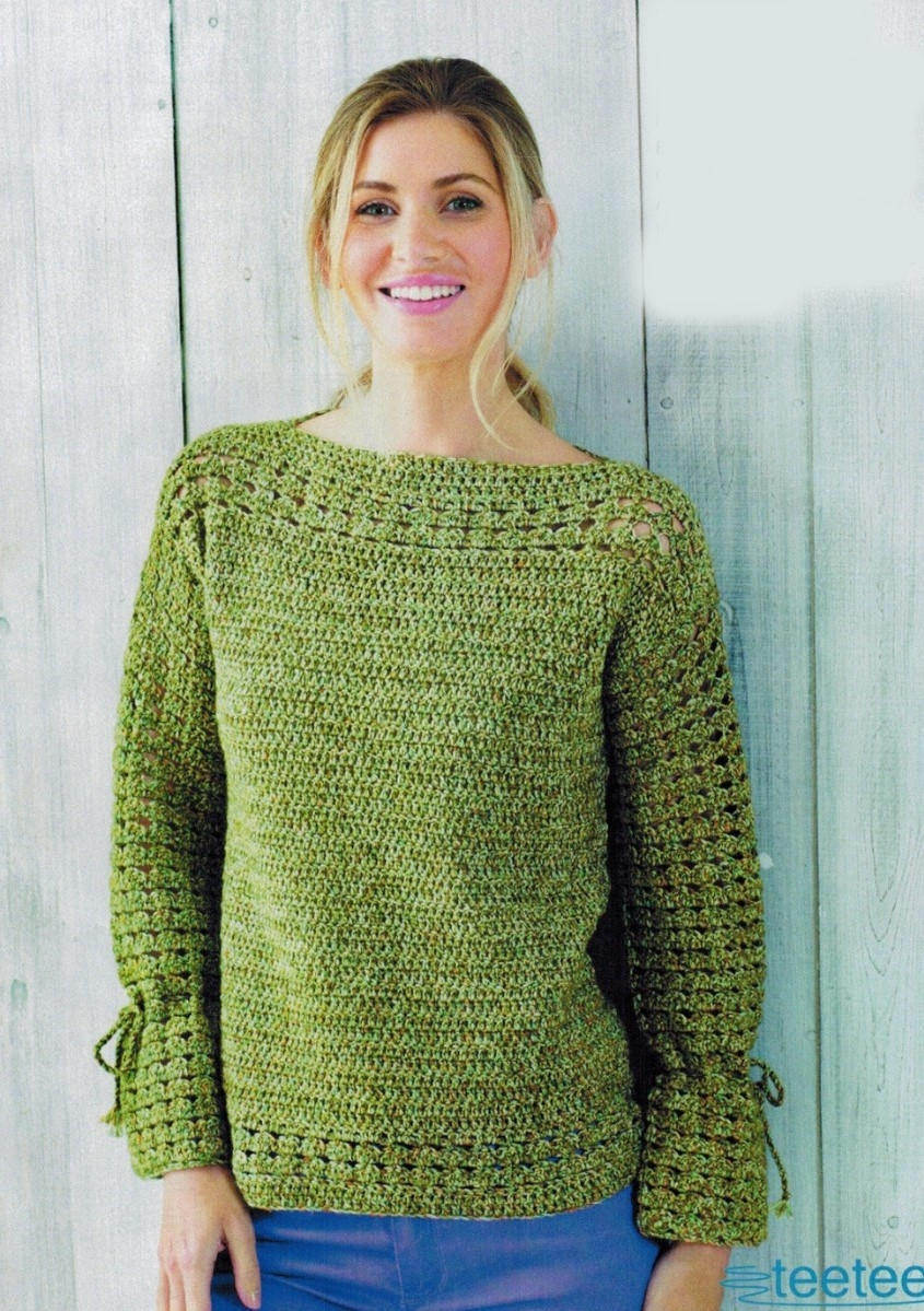 azhurnye pulovery krjuchkom dlja zhenshhin - Вязаный пуловер крючком для женщин схемы и описание
