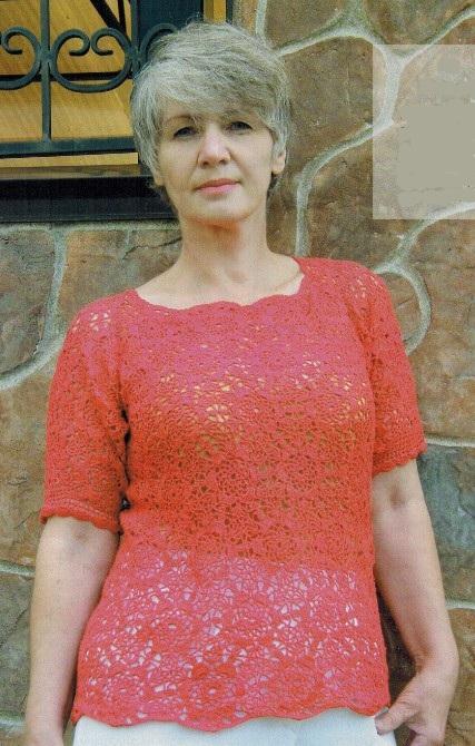 azhurnyj pulover kryuchkom - Вязаный пуловер крючком для женщин схемы и описание