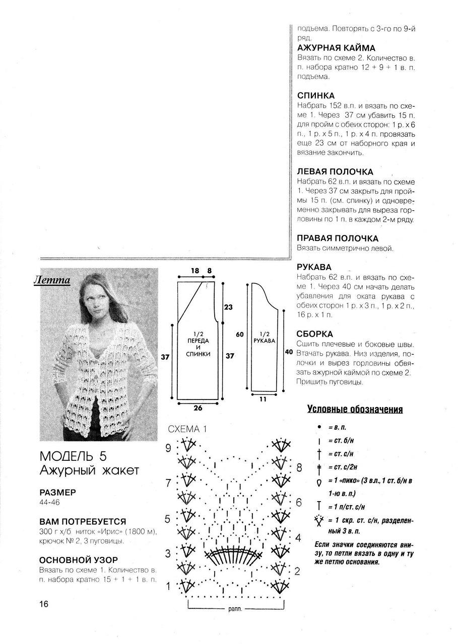 Вязаный ажурный жакет крючком схемы и описание