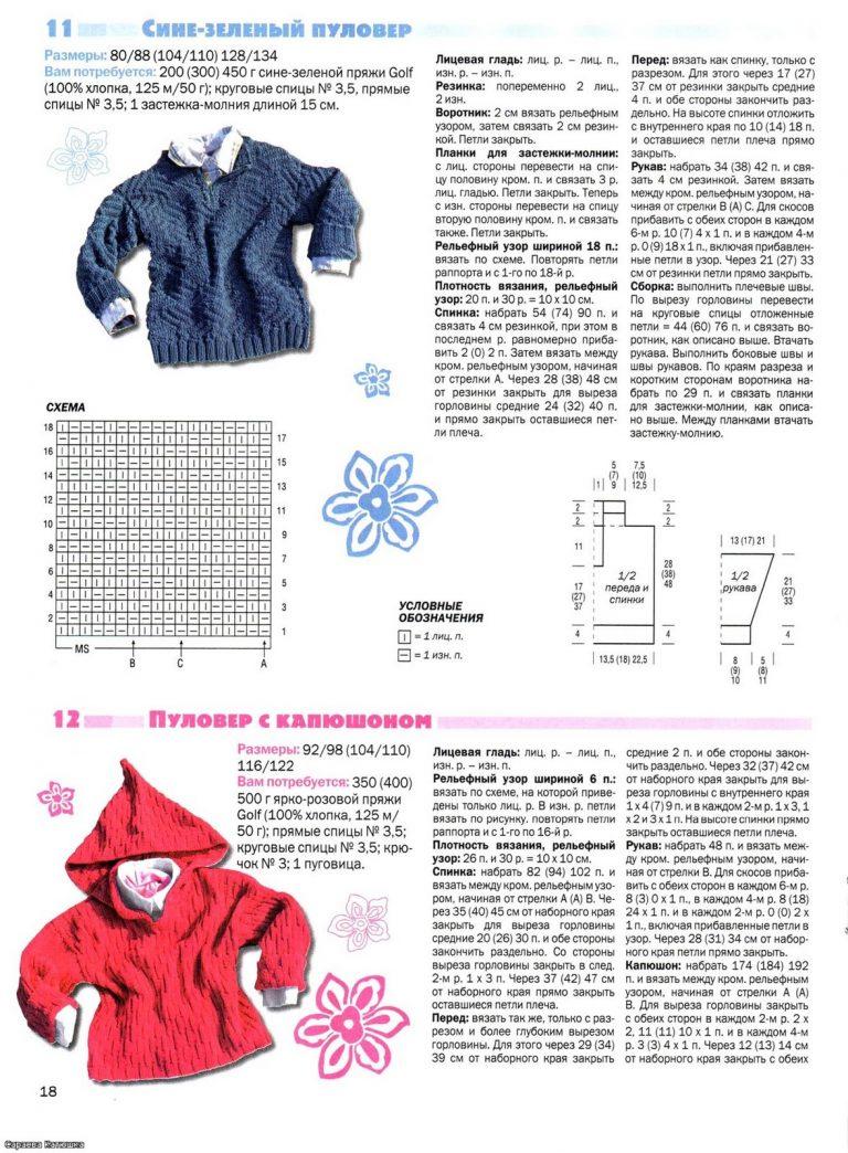 Образец вязания спицами детского пальто 33