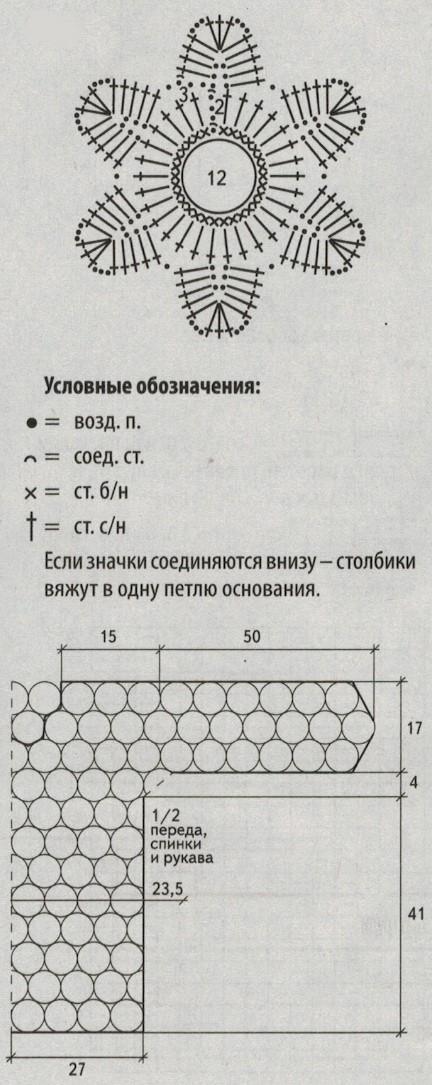 pulover krjuchkom iz motivov shema - Вязаный пуловер крючком для женщин схемы и описание
