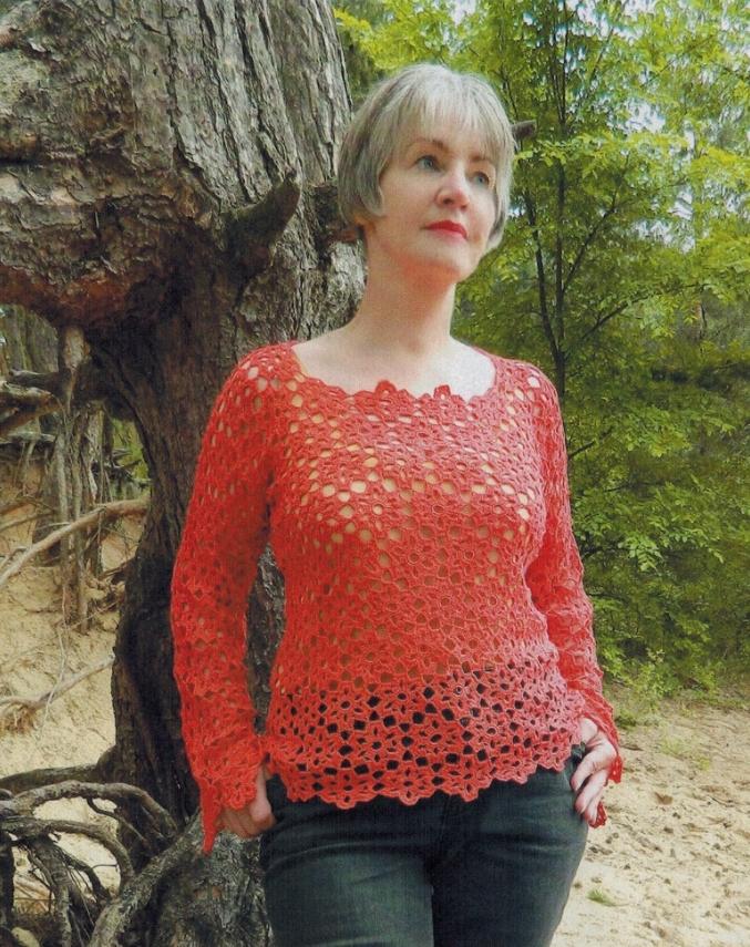 pulover krjuchkom iz motivov - Вязаный пуловер крючком для женщин схемы и описание