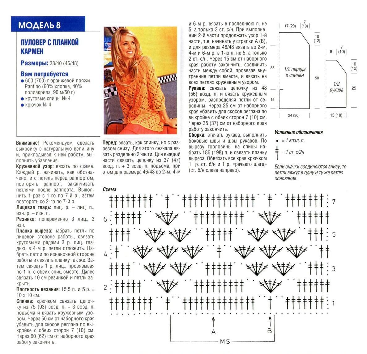pulover zhenskij kryuchkom 1 - Вязаный пуловер женский крючком схемы и описание