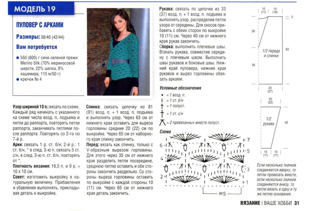 pulover zhenskij kryuchkom - Вязаный пуловер крючком для женщин схемы и описание