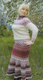 vjazanyj kostjum s jubkoj dlja zhenshhin spicami 150x280 - Вязаные костюмы для женщин спицами со схемами и описанием