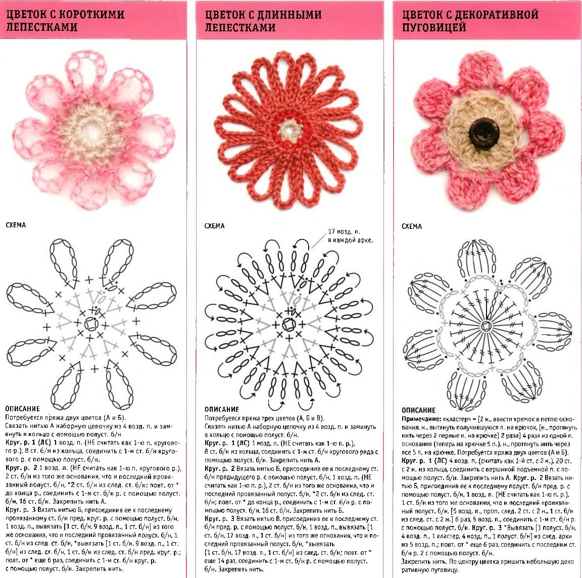 cvety krjuchkom 6 - Вязаные цветы крючком схемы и описание