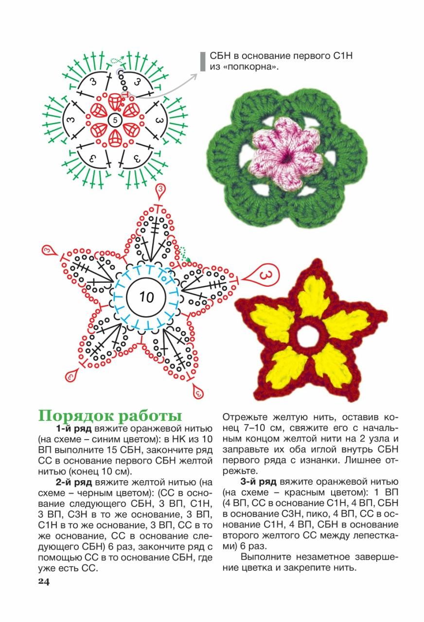 cvety krjuchkom 7 - Вязаные цветы крючком схемы и описание