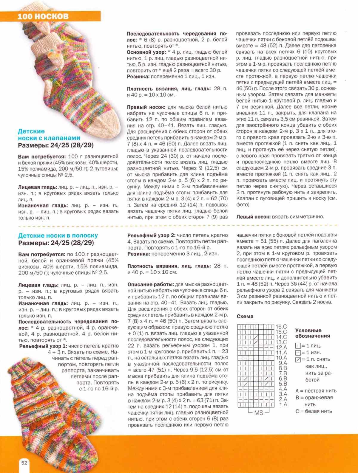 Рисунки при вязании носков 107
