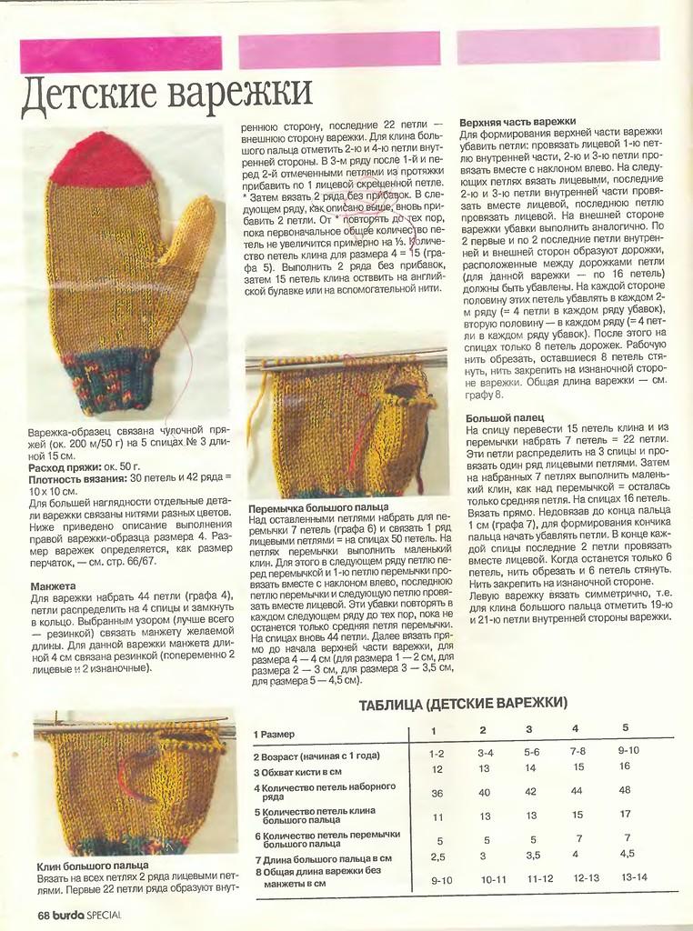 Как связать детские варежки спицами - вязание варежек для ...