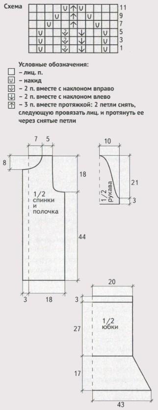 detskij kostyum spicami shema - Вязаный костюм для девочки спицами