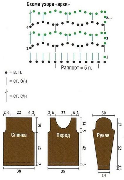 кофта сетка крючком схема