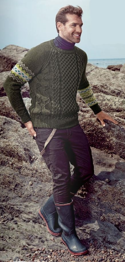 muzhskoj pulover s kosami spicami - Вязаный мужской пуловер спицами схемы с описаниями