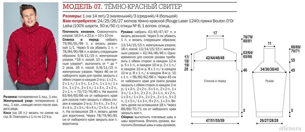 muzhskoj sviter spicami 5 - Вязаный мужской свитер спицами схемы с описаниями