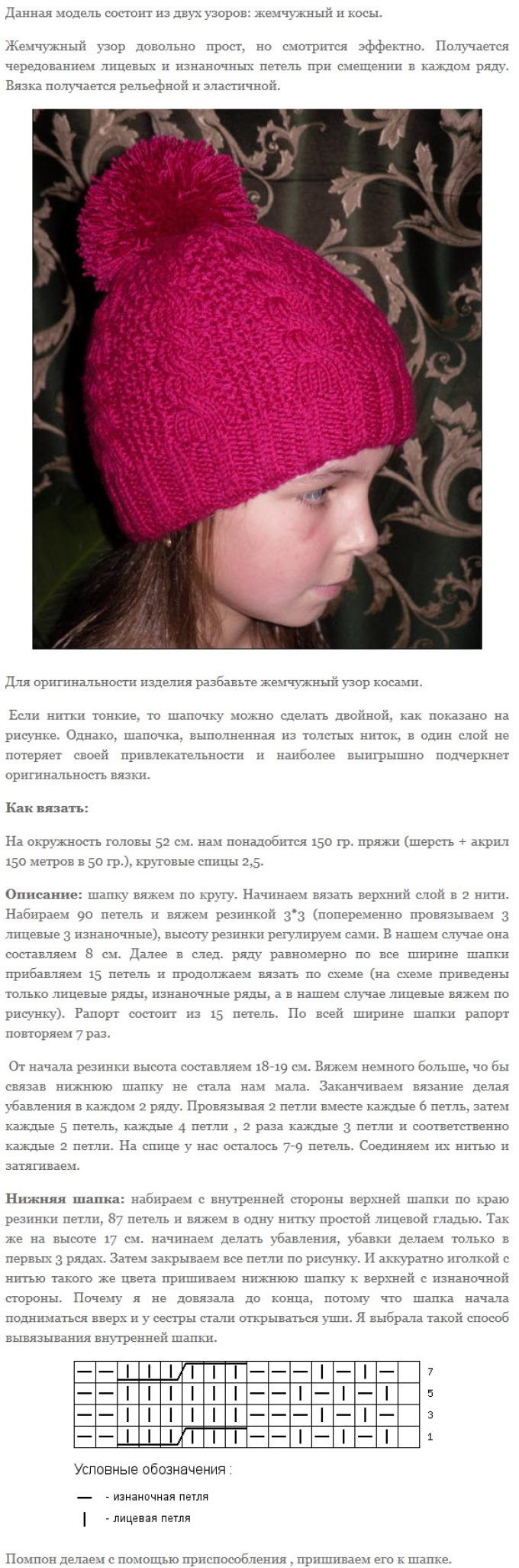 shapka dlya devochki spicami 2 - Вязаные шапки для девочек спицами со схемами и описанием