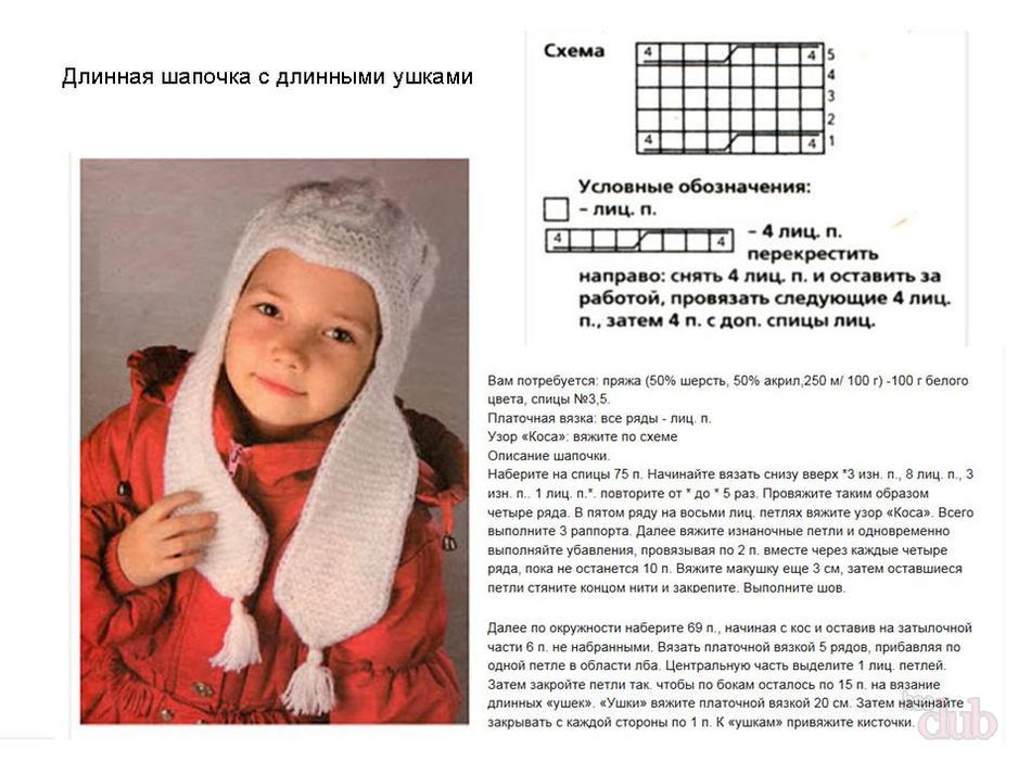 shapka dlya devochki spicami 7 - Вязаные шапки для девочек спицами со схемами и описанием