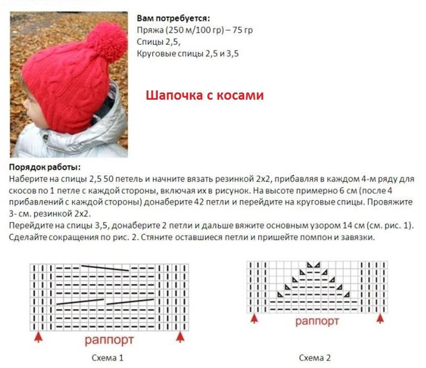 шапка для девочки спицами 8