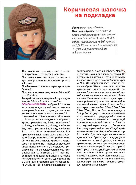 Шапочка для новорожденных детей с описанием и схемами спицами