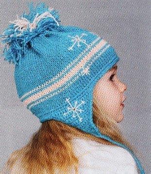 shapka s ushkami spicami dlja devochki 1 - Вязаные шапки для девочек спицами со схемами и описанием
