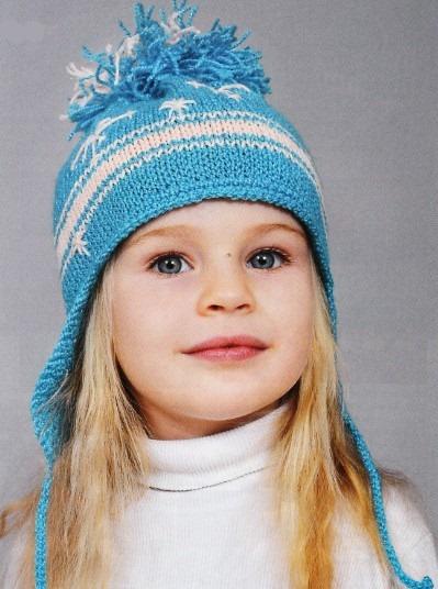 шапка с ушками спицами для девочки