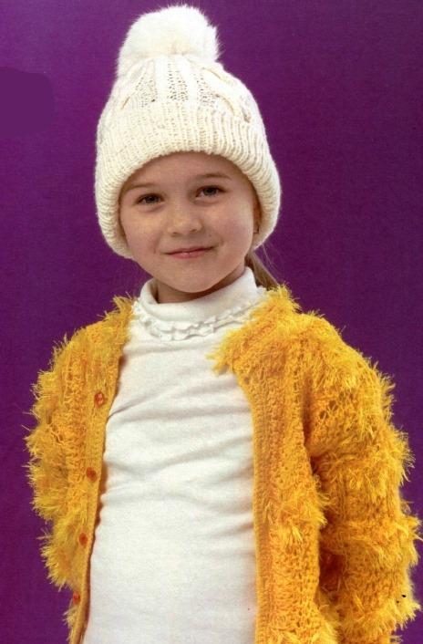 шапочка с помпоном спицами для девочки