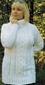 belyj sviter spicami 150x280 - Вязаные белый пуловер спицами женский