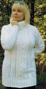 belyj sviter spicami 156x300 - Вязаный белый свитер женский спицами