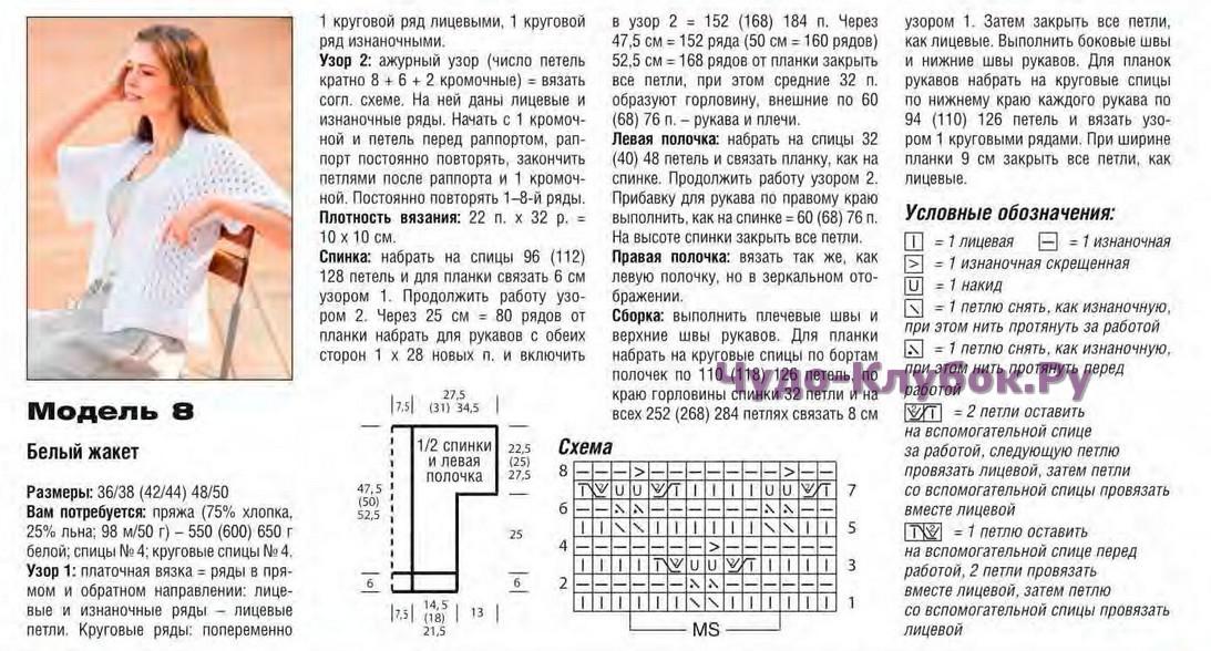 belyj zhaket spicami 1 - Вязаный белый жакет спицами