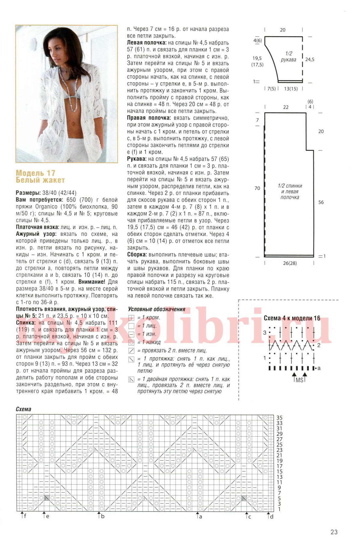 Схема вязания жакетов спицами 35