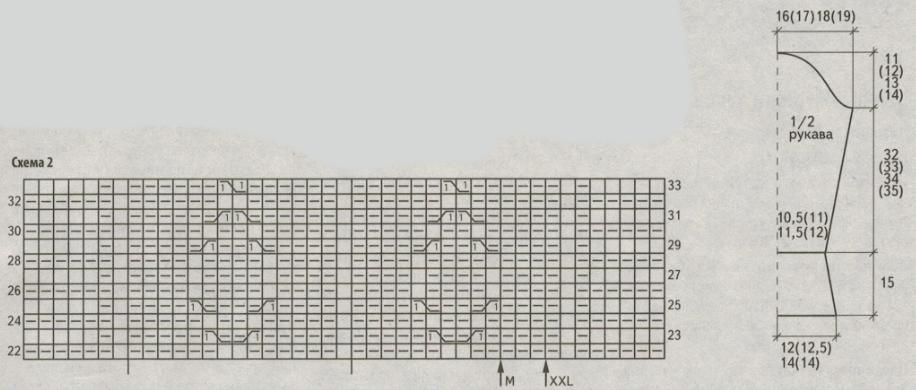 belyj zhaket spicami s uzorom iz rombov shema 2 - Вязаный белый жакет спицами