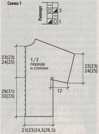 belyj zhaket spicami shema 1 - Вязаный белый жакет спицами
