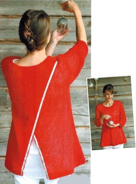krasnyj zhaket spicami - Красный вязаный жакет спицами