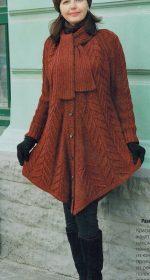 palto poncho spicami 150x280 - Вязаное пальто спицами для женщин схемы и описание