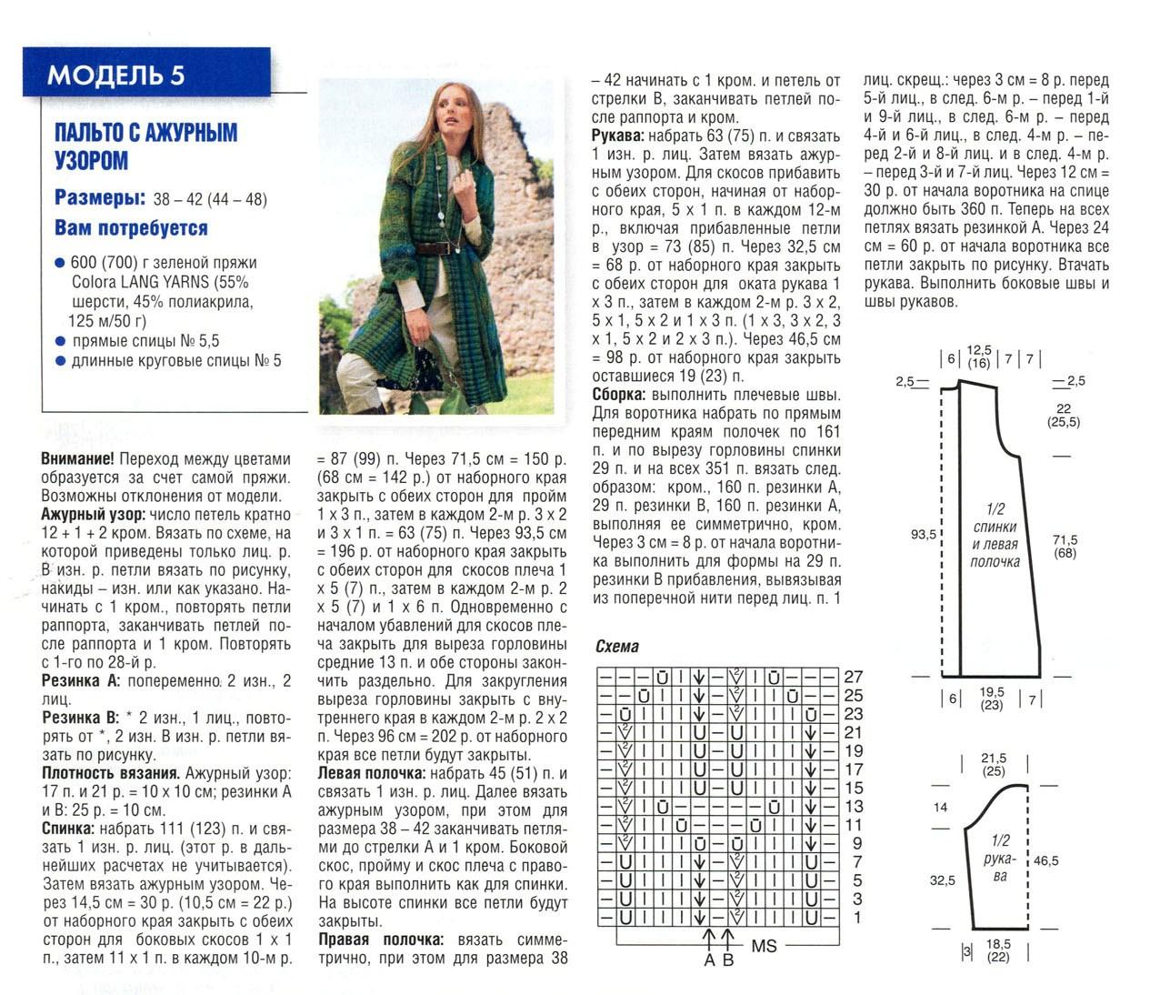 palto spicami 4 - Вязаное пальто спицами для женщин схемы и описание