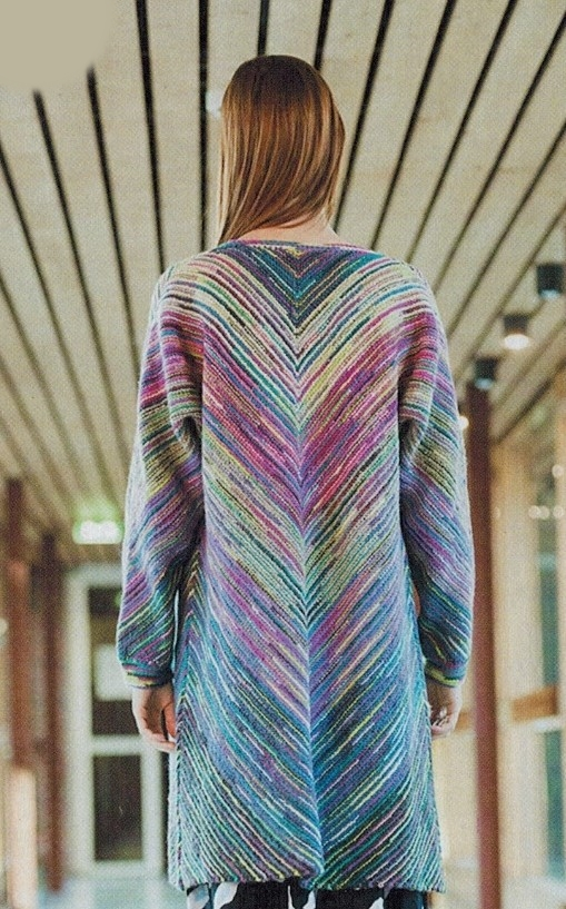 polosatoe palto spicami 1 - Вязаное пальто спицами для женщин схемы и описание