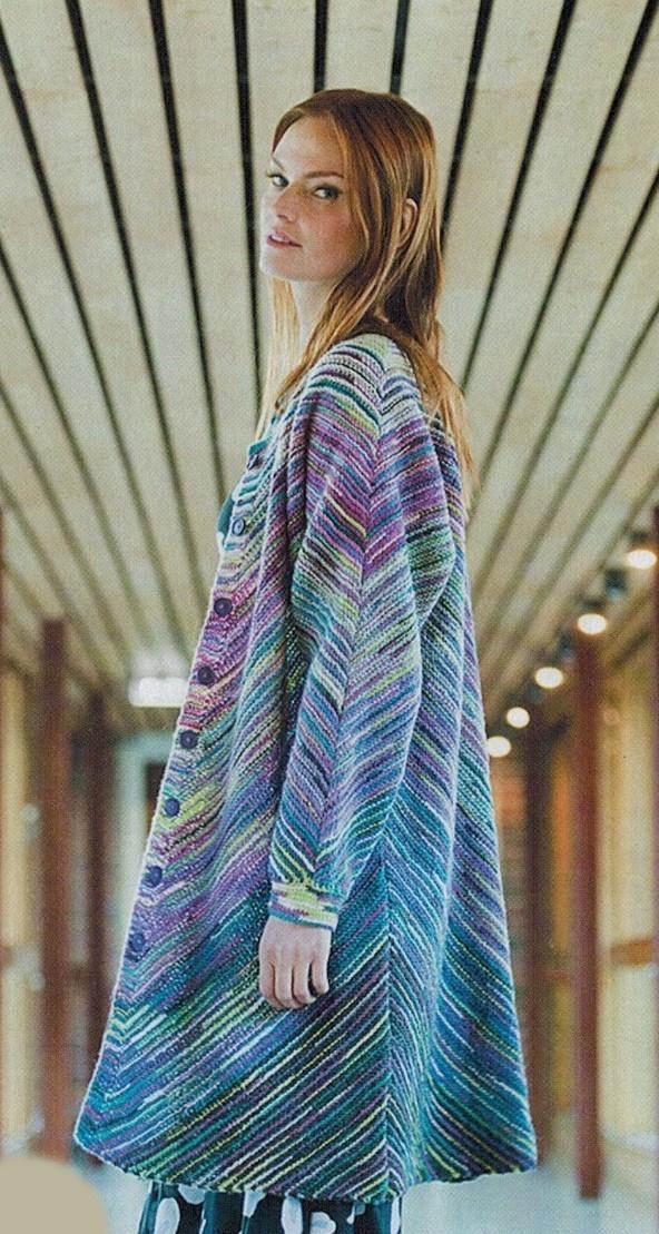 polosatoe palto spicami - Вязаное пальто спицами для женщин схемы и описание