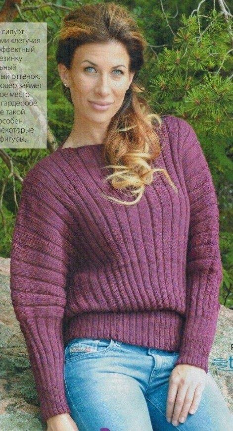 pulover letuchaya mysh spicami - Вязаный свитер летучая мышь спицами