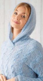 pulover s kapjushonom spicami zhenskij 150x280 - Вязаные свитера с капюшоном спицами