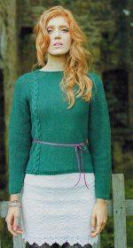 pulover s kosami spicami 150x280 - Вязаный женский пуловер с косами спицами