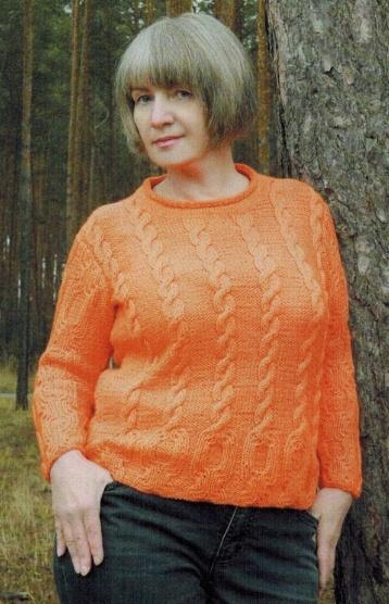 pulover s relefnym uzorom spicami dlya zhenshhin - Ораньжевый пуловер с рельефным узором спицами для женщин