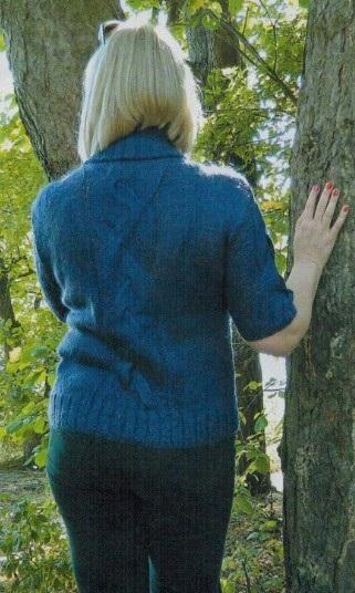 пуловер с воротником гольф спицами 1
