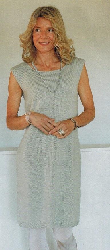 seroe plate spicami - Серое вязаное платье спицами