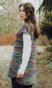 туника платочной вязкой спицами