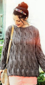vjazanyj spicami sviter s obemnymi kosami 150x280 - Вязаные свитера с косами спицами схемы с описанием