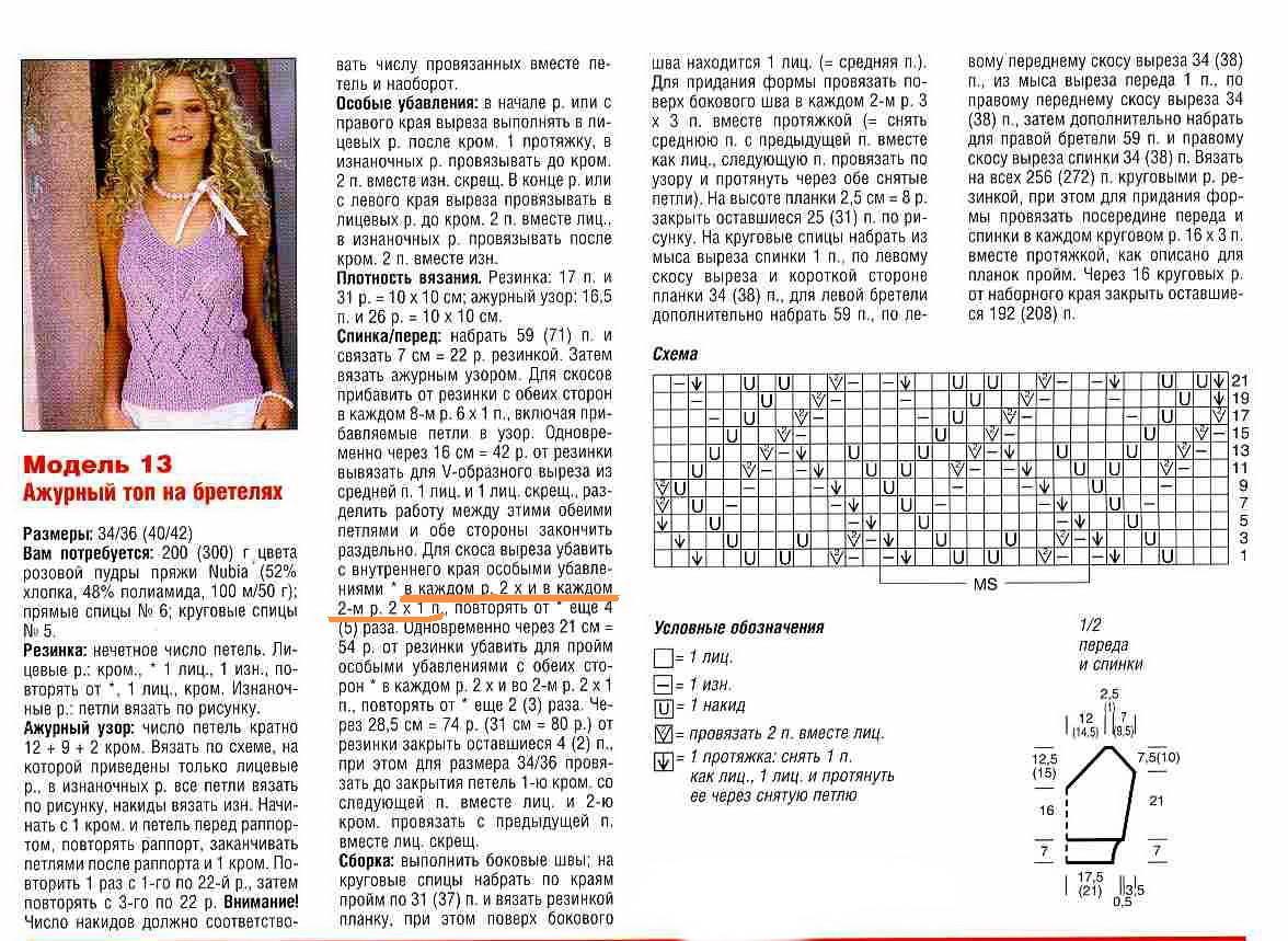 azhurnyj top spicami 3 - Вязаный ажурный топ спицами схемы и описание